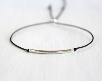 Best Friend Gift Minimalist Sterling Silver Friendship Bracelet Dainty Jewelry Delicate Beaded Silk Cord Bracelet