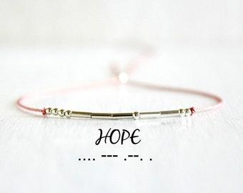 Hope Morse Code Bracelet Minimalist Motivational Jewelry Thin Sterling Silver Bead Silk Cord Inspiration Bracelet Stack