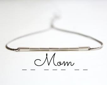 Mom Morse Code Bracelet Minimalist Silk Cord Bracelet Mother Bracelet New Mom Gift Thin Sterling Silver Beaded Bracelet Mother's Day Gift