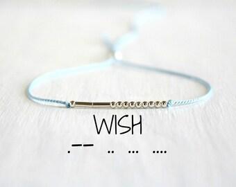 Wish Morse Code Bracelet Custom Motivational Jewelry Inspiration Morse Code Bracelet Minimalist Dainty Silk Cord Silver Beaded Bracelet