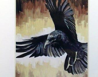 Crow #1 (Bendigeidfran) PRINT 10cmx15cm (16cm x 21cm Mount)