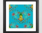 pineapple art / blue wall...