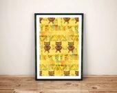 owl art print / boho folk...