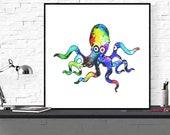 octopus art print, ocean ...
