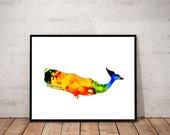 whale art print / colorfu...