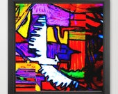 abstract bird art print /...