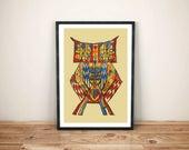 owl art print / folk art ...