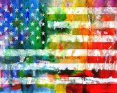 flag art print, rainbow w...