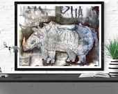 rhino art print / endange...