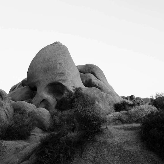 Landscape Photography Black And White Photograph Mountain Nature Art Print California Desert Joshua Tree Landscape Skull Rock
