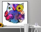 owl art print, bird anima...