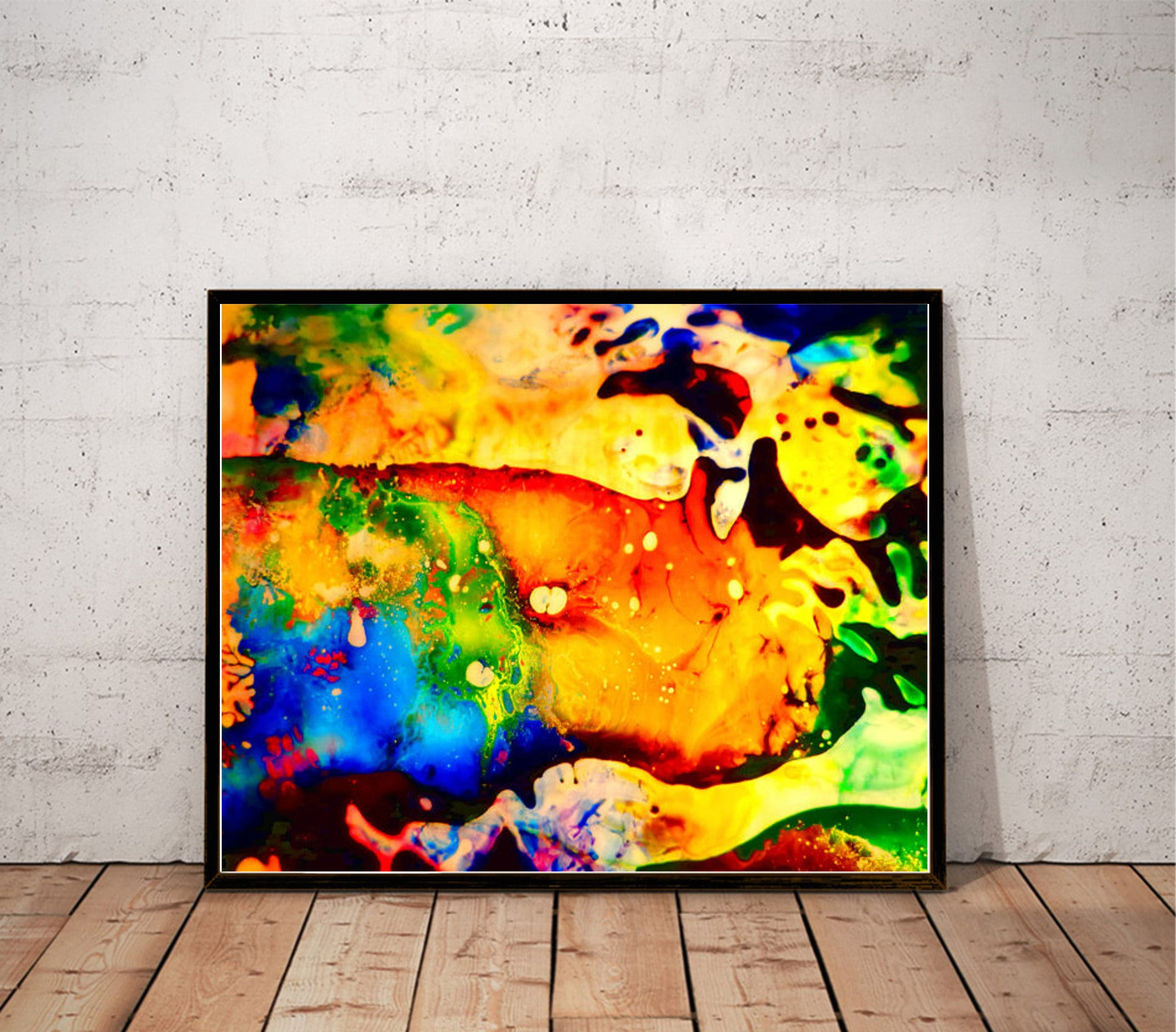 abstract art print / psychedelic painting print / multicolor | Etsy