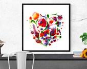 floral watercolor art pri...