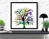 tree art print, nature il...