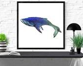 whale art print, animal i...
