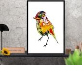 bird art  print / yellow ...