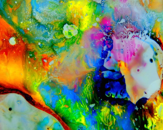 AB924 Psychedlic multi colour pink Canvas Wall Art Abstract Picture Large Print