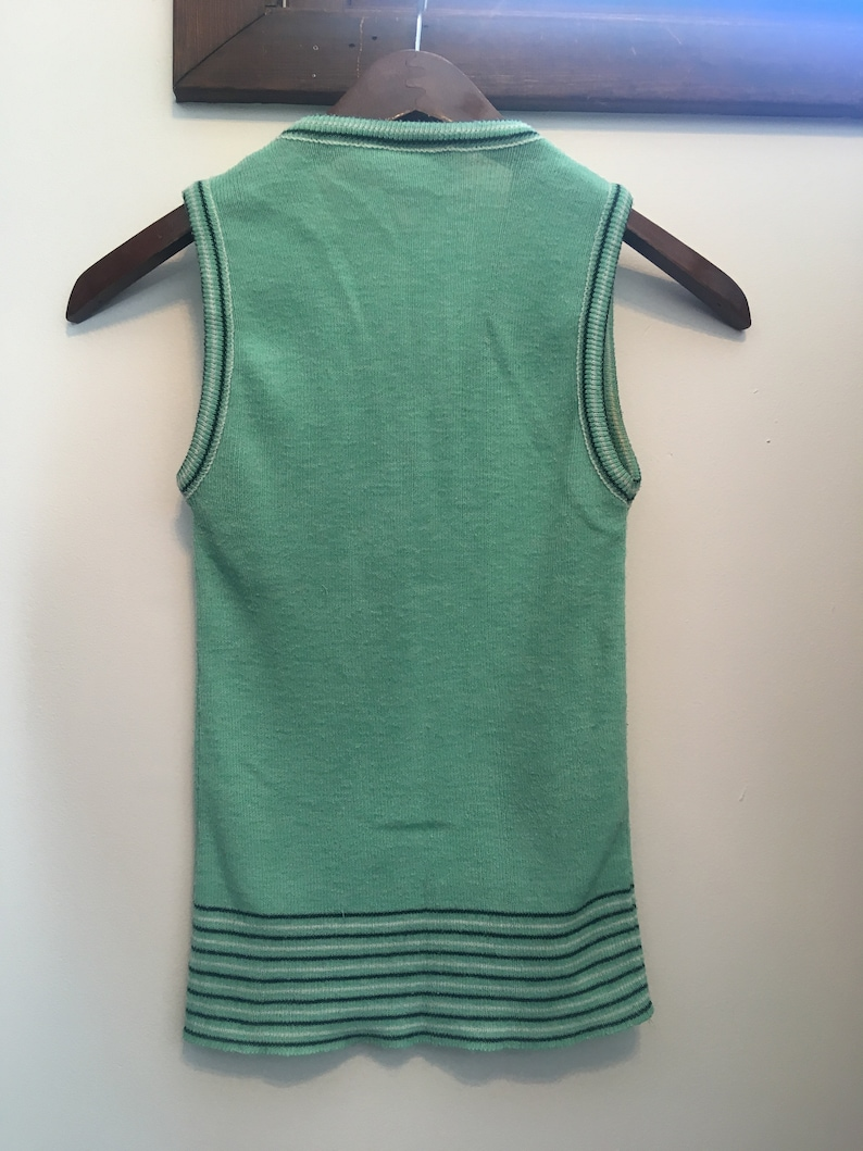 Vintage 1960s Mint Green with Black and White Striped Edging Button Front Cardigan and Tank Knitwear Set Free Shipping