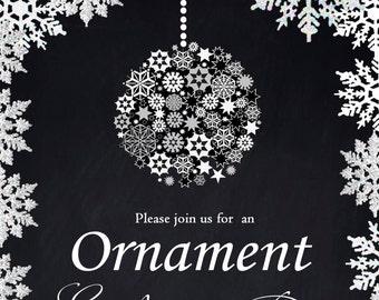 Ornament Exchange Party invitation /  Christmas ornament design / Printable PDF / JPG /  Print at Home