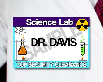 Scientist Name Tags, Science Party Tags, Digital, Instant Download, SET of 10, Science Lab Party Purple and Blue