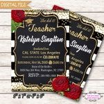 Teacher Graduation Invitation Invitation Personalized Graduation invitation DIY Printable Eat Chat and Celebrate