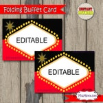 Casino Food Tent, Printable Buffet Cards, Set of 4, EDITABLE Food Cards, Instant Download Las Vegas Tent Cards, Buffet Cards, Food Labels,