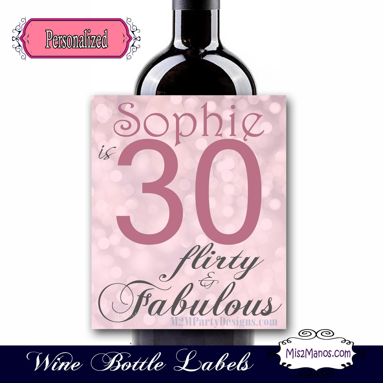 30th birthday wine labels Sparkling Cider Champagne Glitter | Etsy