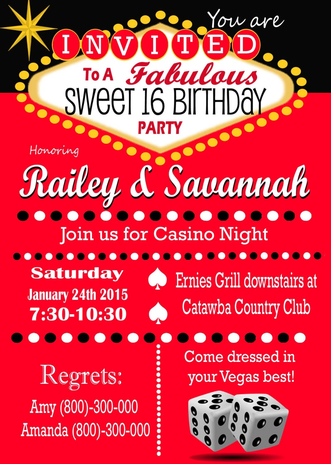 Casino Theme Party Las Vegas Sweet 16 Party Invitation. Retro | Etsy
