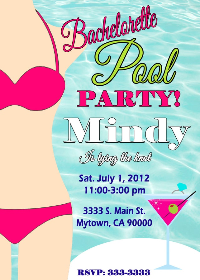 Pool party bachelorette invitation bridal shower invitation etsy image 0 filmwisefo