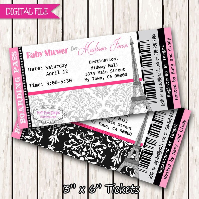 Paris Boarding Pass Invitation Ticket Eiffel Tower Baby Shower Etsy