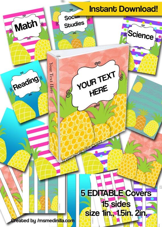pineapple binder covers student teacher substitute folder etsy