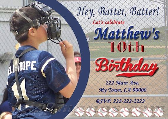 Tarjetas De Invitación De Beisbol Para Imprimir Fiesta De Béisbol De Cumpleaños Archivo Digital Para Imprimir