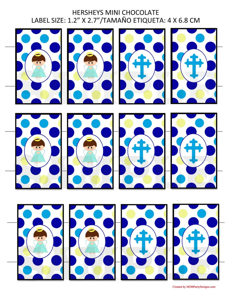 Baptism Angle Instant Download Set of 12 Baptism Angle Candy Tag Chocolate Wrapper