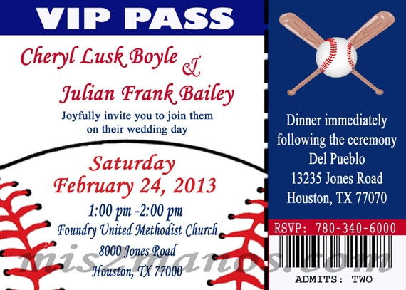 baseball theme wedding party printable ticket invitations diy etsy