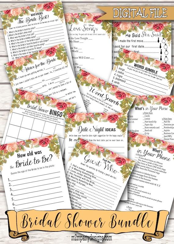 12 bridal shower games bundle games bundle bridal shower etsy