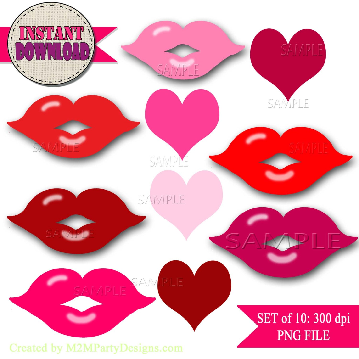 lips and love hearts clipart pink hearts clipart love heart | etsy