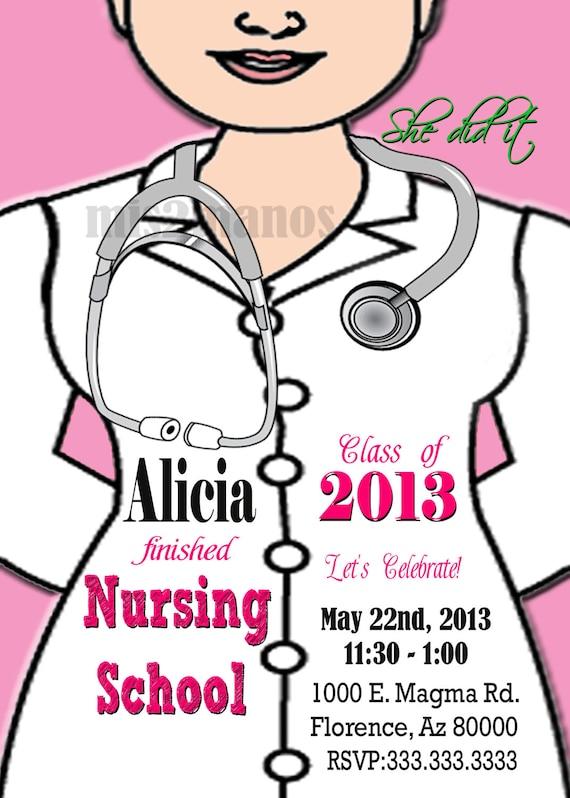 Enfermería Médica Grado Graduación Invitación Fiesta Graduación Invitación Diy Invita A Fiesta Imprimible Personalizado