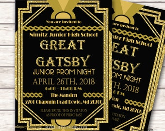Black and Gold Gatsby Inspired Prom Invitation. Glitter Gold Prom Flyer. Invitation. Digital File