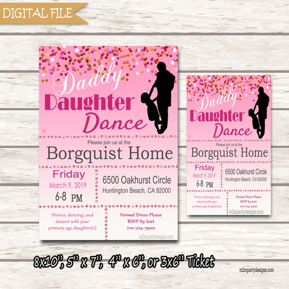 Daddy Daughter Dance Invitations Ticket Or Flyer Dance Etsy