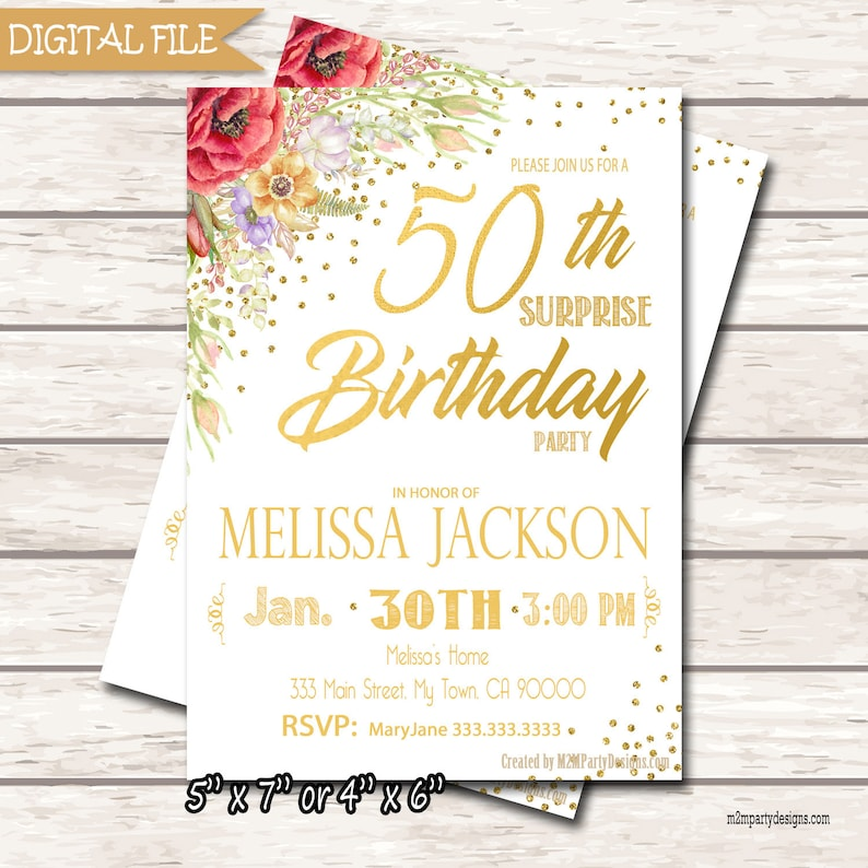 Blush Gold Surprise Birthday Party Invitation Adult Custom