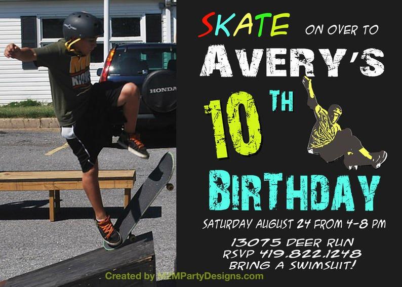 Skateboard Birthday Invitation Boy Skating Theme Party Etsy