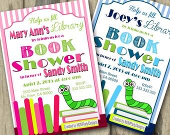Book Shower Book Worm Baby Shower, PRINTABLE Baby Shower, Bookworm Invitation, Library Invitations, DIGITAL FILE