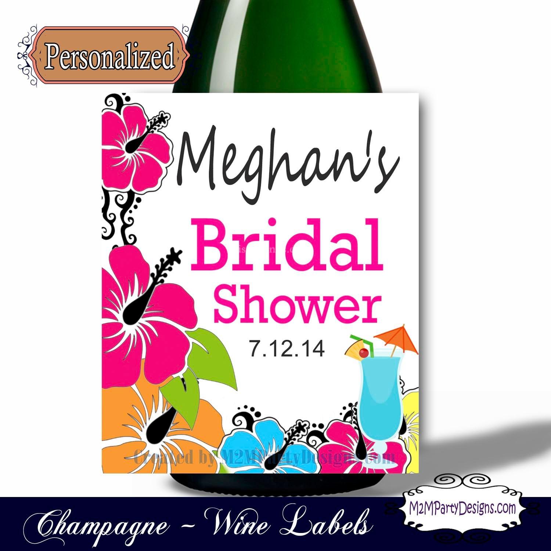 Bachelorette Champagne labels Luau Wine Labels Hawaiian | Etsy