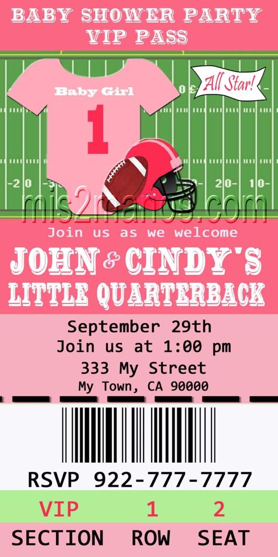 football baby shower printable ticket invitations printable etsy