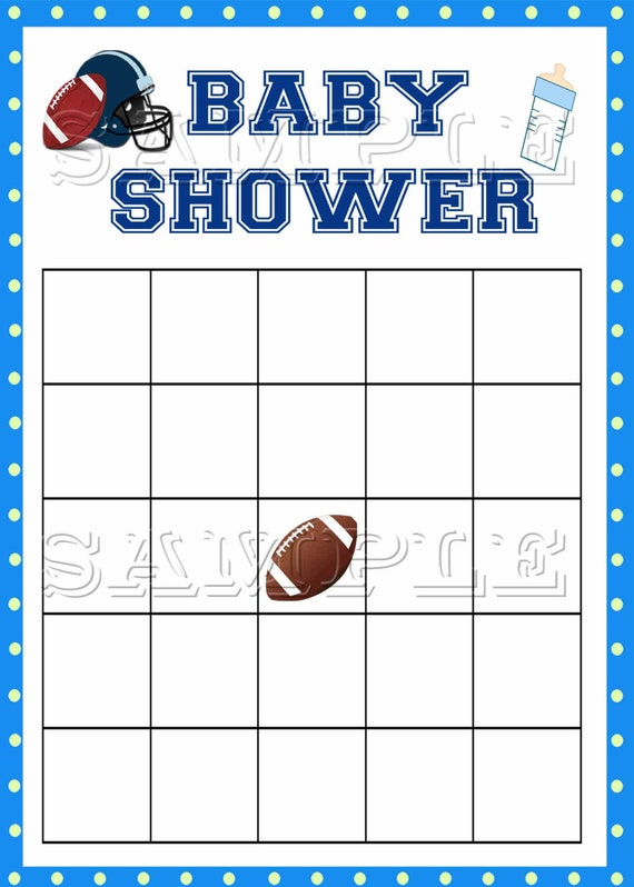 Football Baby Shower Bingo Game Blue Green Instant Download Etsy