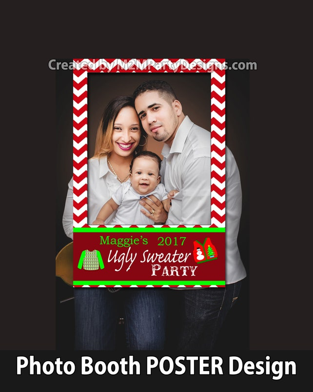 Ugly Sweater Party, Christmas party photo prop, holiday party photo prop, Backdrop - Printable sign - Personalized Sign You Print