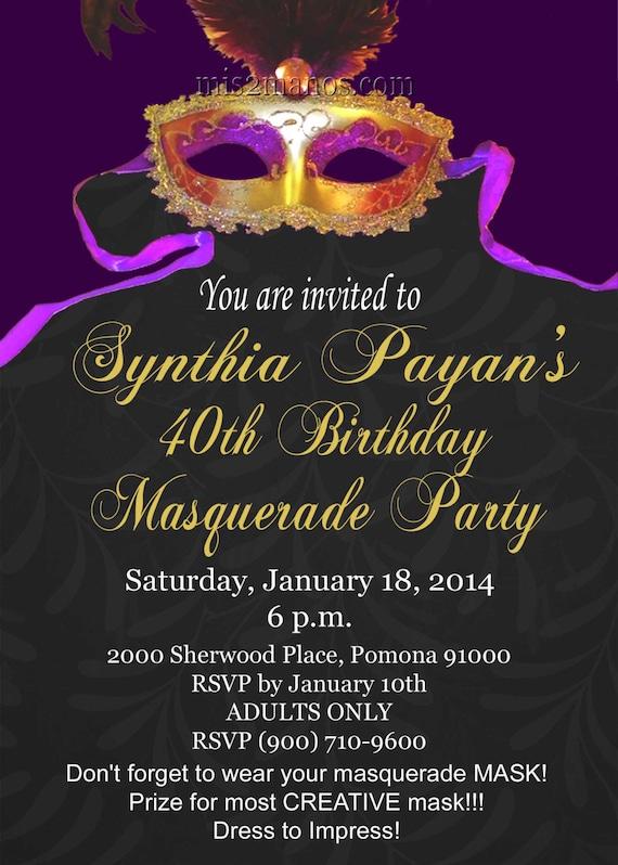 Masquerade Party Mardi Gras Invitations Printable Print at ...