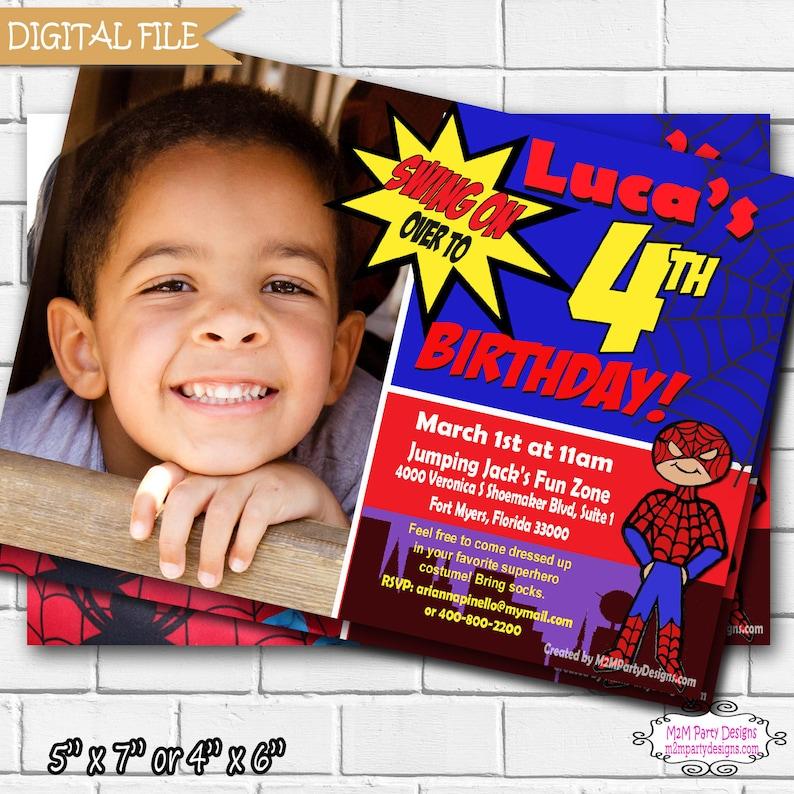 Spidey Spider Man Birthday Invitation Super Heroes Printable