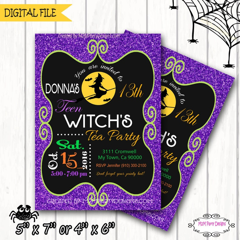 Halloween Party Invitation Teen Witch Halloween Invitation Teen Witches Tea Halloween Birthday Seasonal Halloween Card Printable