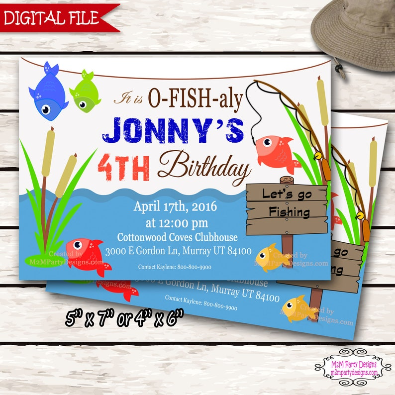 Fishing Birthday Party Invitations Fish Themed Invite Wood Etsy